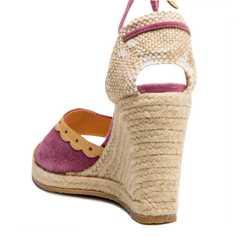 Louis Vuitton Purple Suede & Tan Leather Wedges For Sale 1