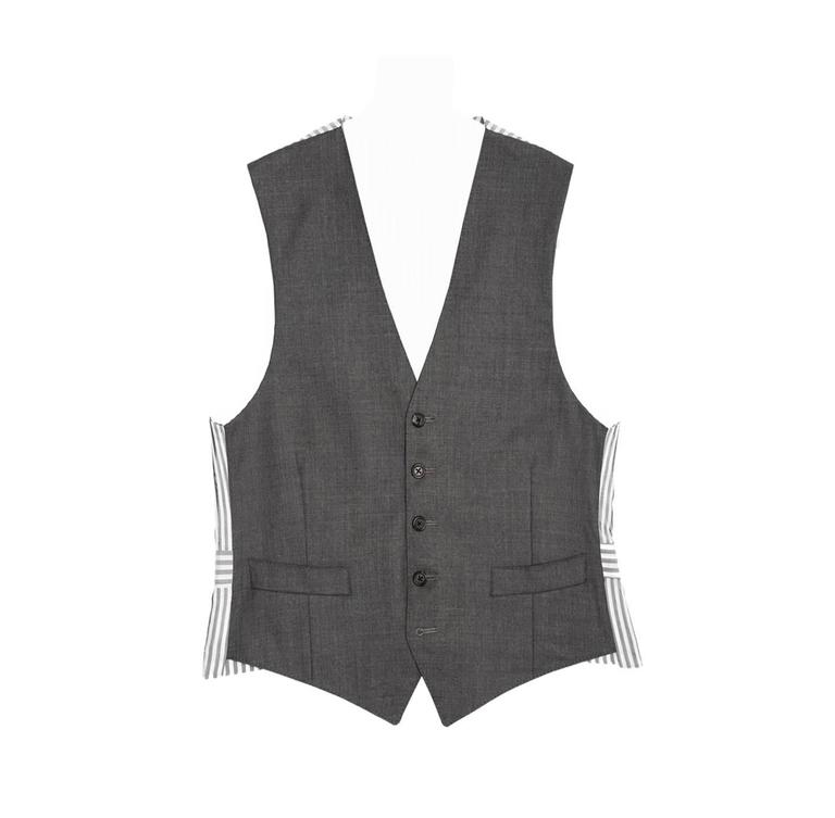Thom Browne Heather Grey Wool Vest For Sale