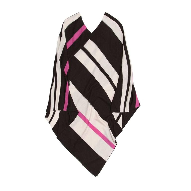 Tomas Maier Brown Beige & Fushia Cashmere Poncho For Sale