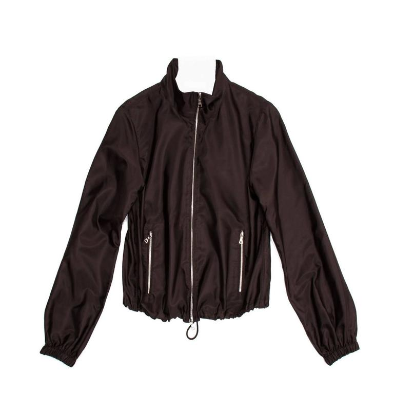 Prada Brown Silk Windbreaker Jacket
