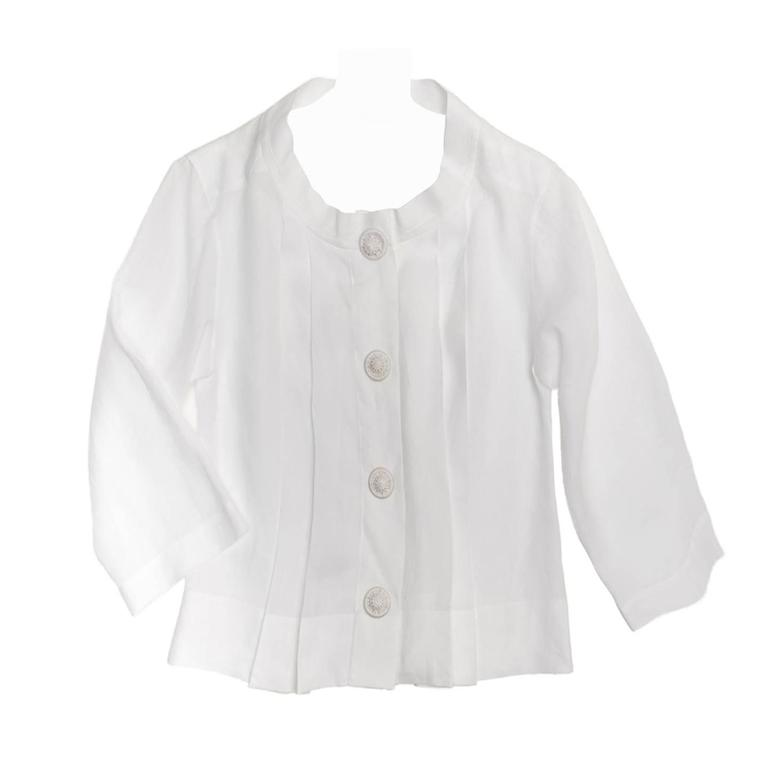 Chloe' White Linen Pleated Shirt