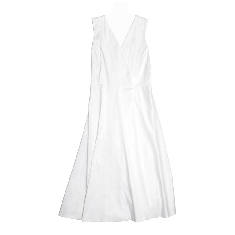 Jil Sander White Cotton Wrap Dress