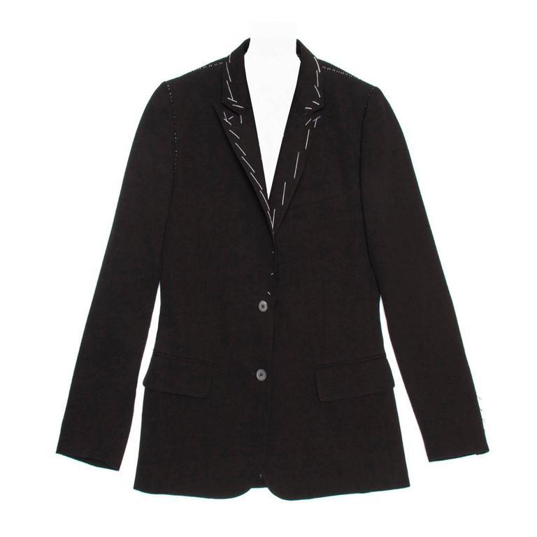 Kinder Fashion Design Black Wool Single Breasted Blazer