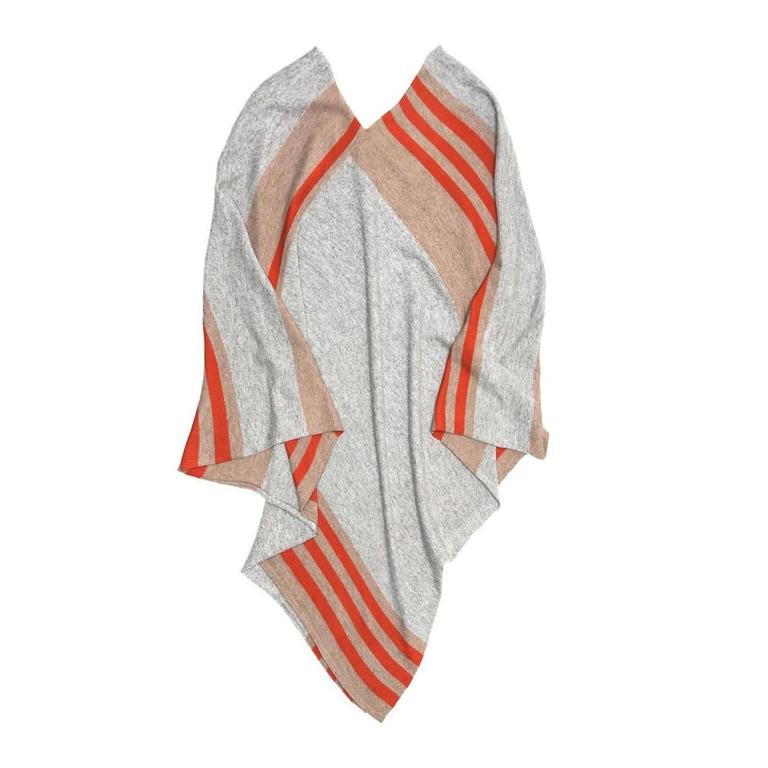 Tomas Maier Khaki Orange & Grey Cashmere Poncho For Sale