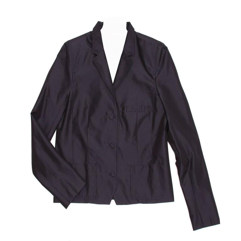Balenciaga Navy Shiny Silk Short Blazer