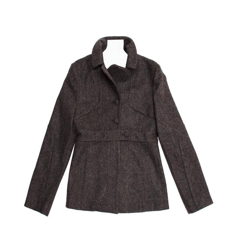 Marni Grey Wool Buttoned Jacket For Sale