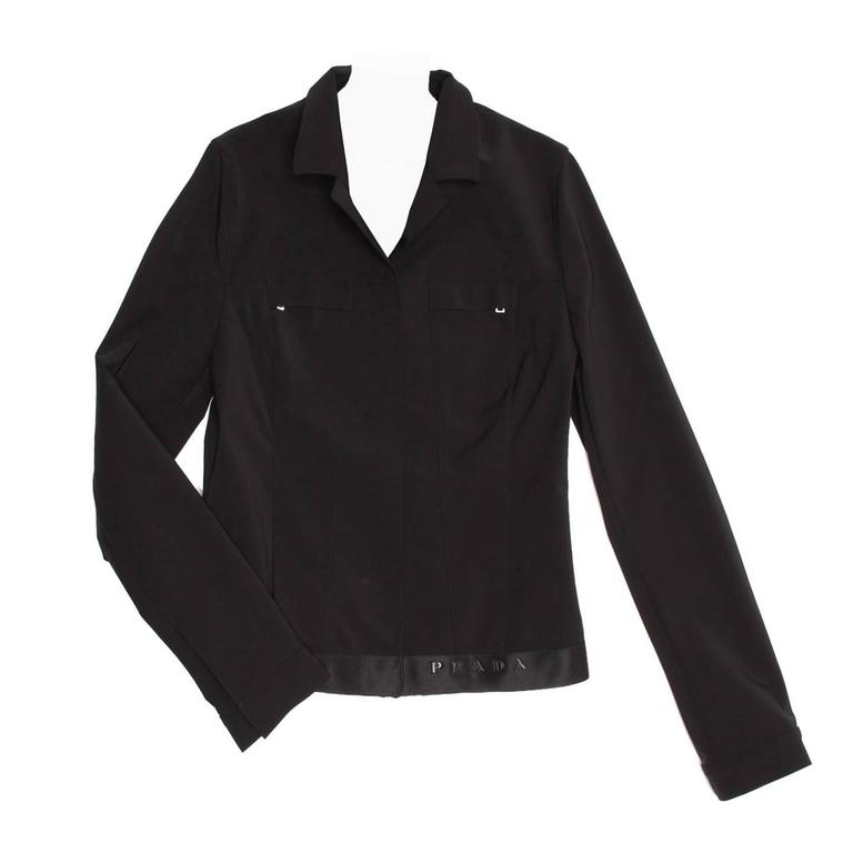 Prada Black Poly Nylon Jacket For Sale
