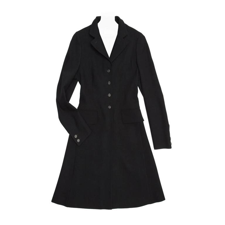 Prada Black Wool Riding Style Coat For Sale
