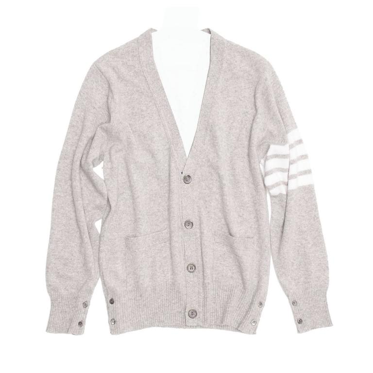 Thom Browne Light Grey Cashmere V-Neck Cardigan