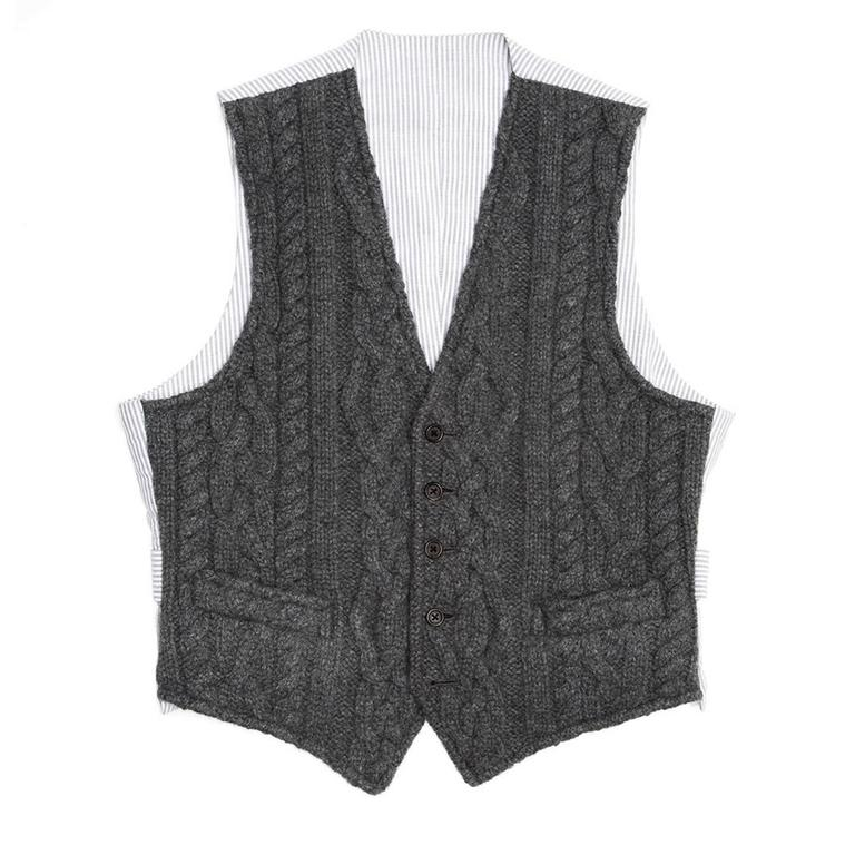 Fall 2009 dark grey cable knit cashmere vest with grey & white striped cotton back panel and adjustable buttoned back detail. Made for Men Worn by Women too. Made in U.S.A.  Size  1  Condition  Excellent: worn a few times