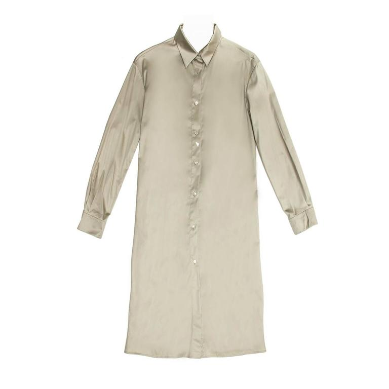 Jil Sander Khaki Cotton Shirt Dress