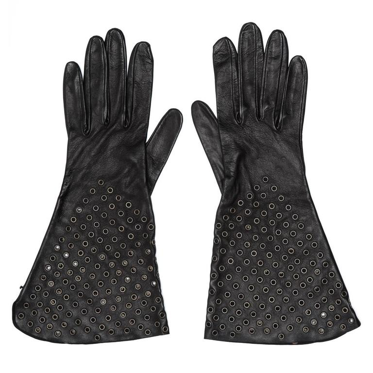 Alaïa Black Leather Gloves With Eyelets