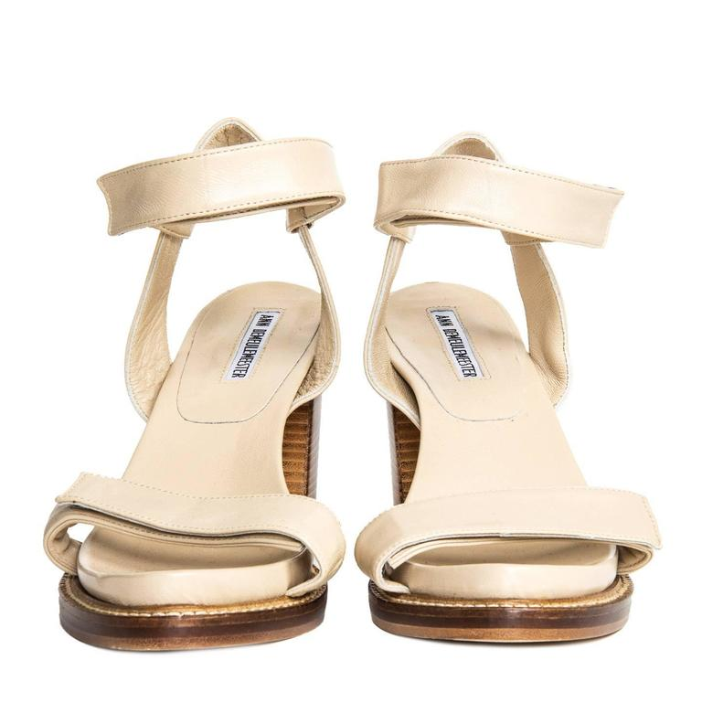 Ann Demeulemeester Beige Velcro Straps Sandals In New Condition For Sale In Brooklyn, NY