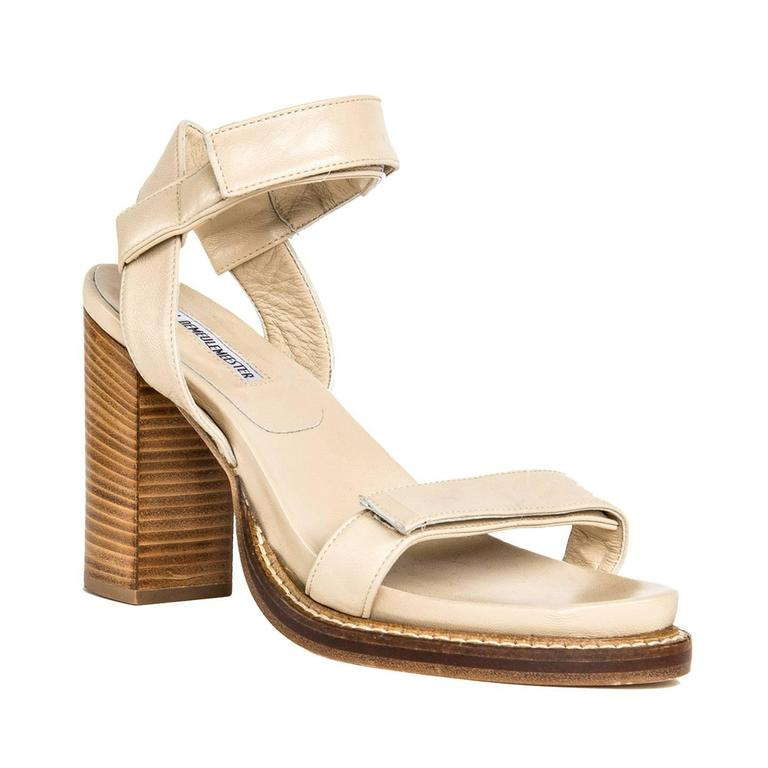 Beige leather open toe wooden heel sandals with velcro straps at front of foot and ankle. Vero Cuoio. Made in Italy. Heel 4.25