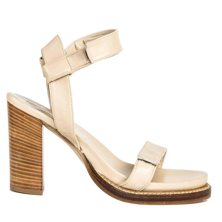 Ann Demeulemeester Beige Velcro Straps Sandals For Sale
