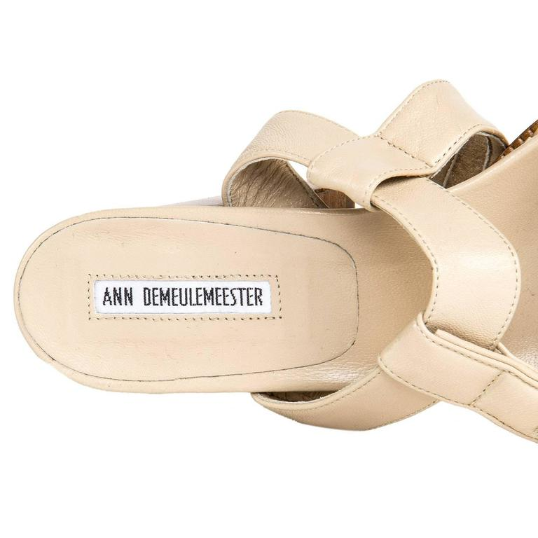 Ann Demeulemeester Beige Velcro Straps Sandals For Sale 1