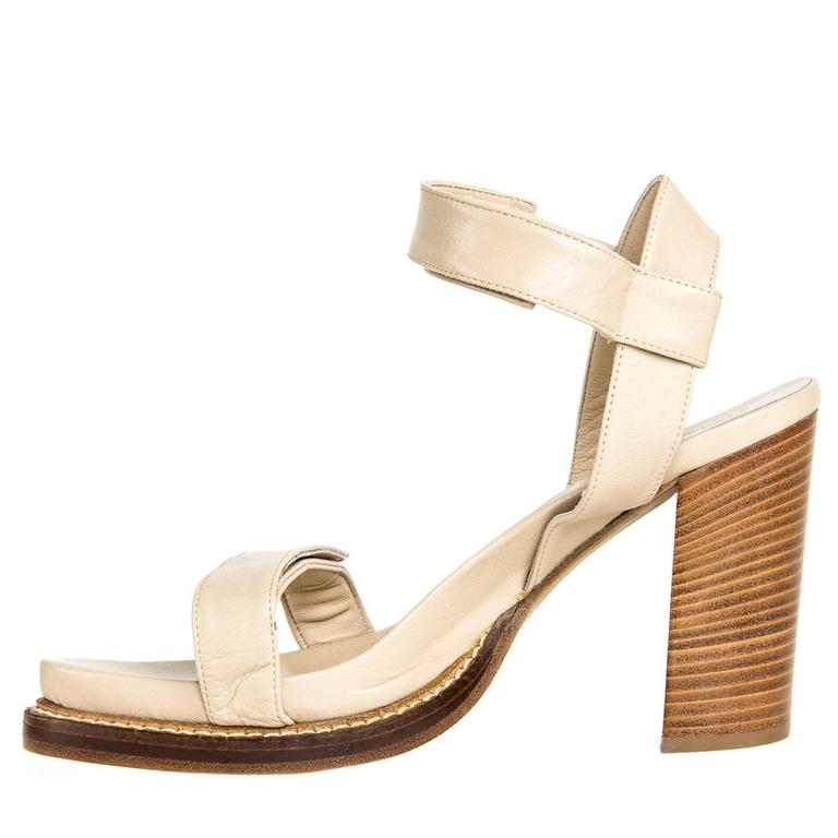 Women's Ann Demeulemeester Beige Velcro Straps Sandals For Sale