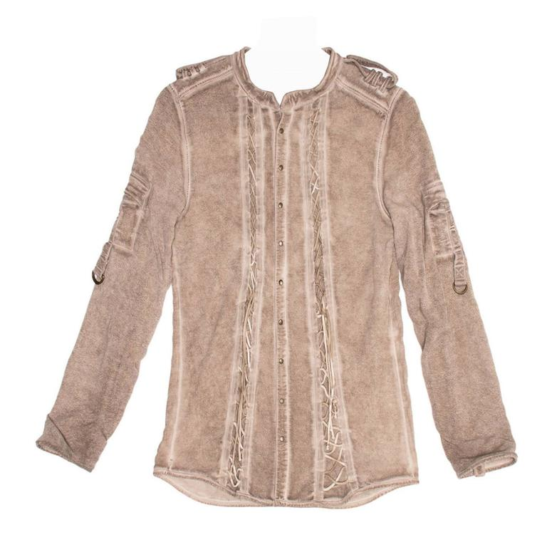Balmain Taupe Jersey & Chiffon Top For Sale