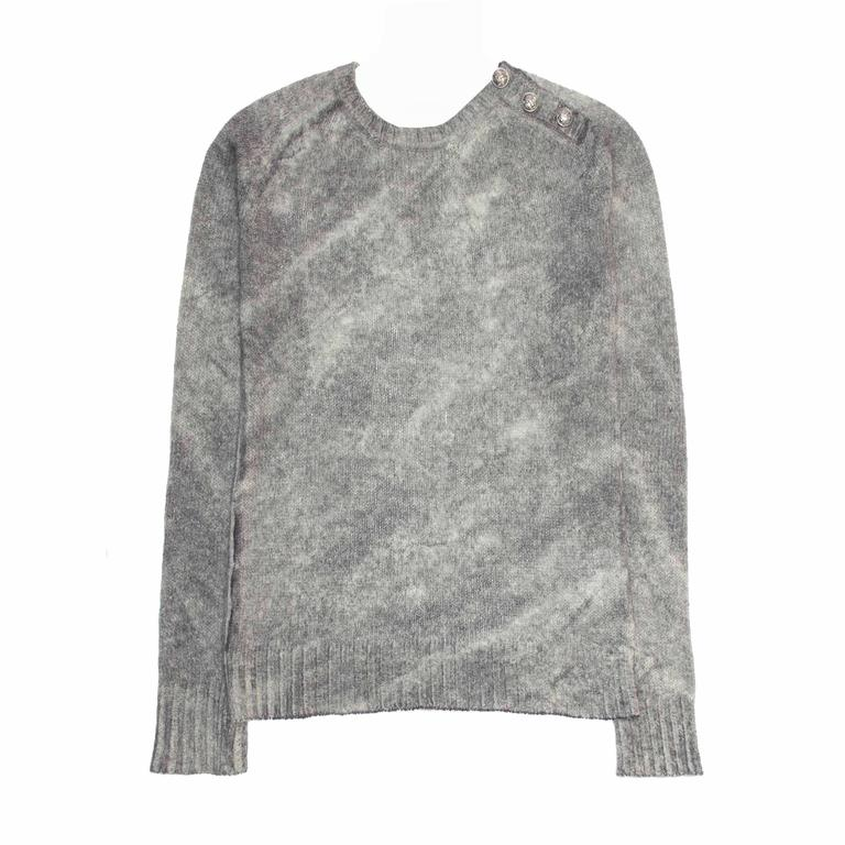 Balmain Grey Spray Effect Wool Sweater