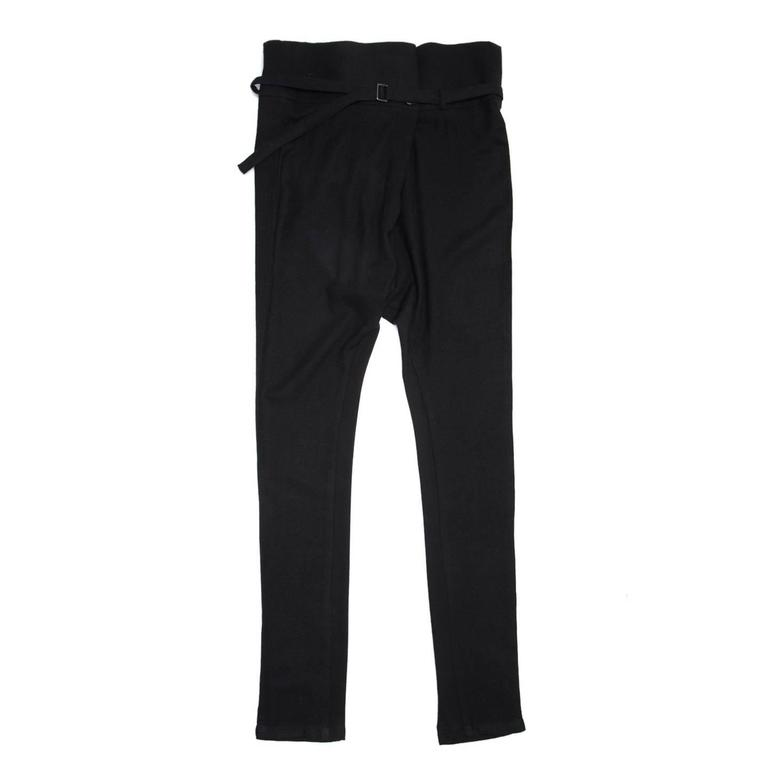 Ann Demeulemeester Black Wool Belted Pants