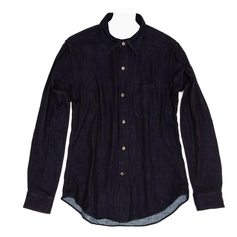 45rpm Dark Blue Cotton Shirt For Man