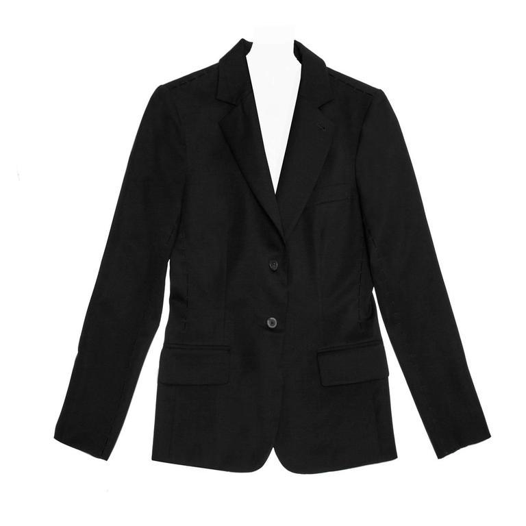 Yves Saint Laurent Black Blazer With Embellished Seams