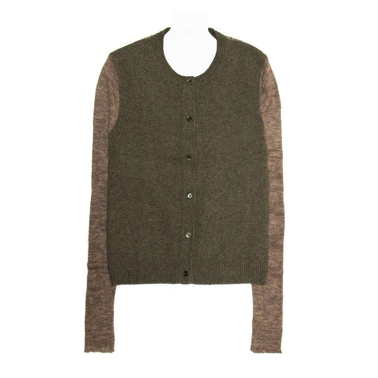 CelineGreen & Brown Cashmere Cardigan