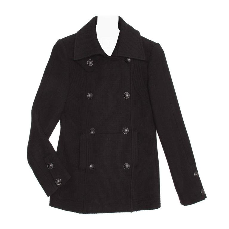 Chanel Black Wool Peacoat Jacket For Sale