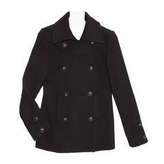 Chanel Black Wool Peacoat Jacket