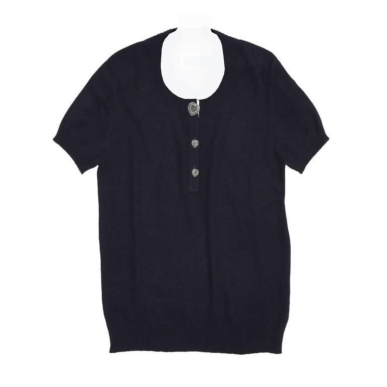 Chanel Navy Cashmere Short Sleeve Sweater