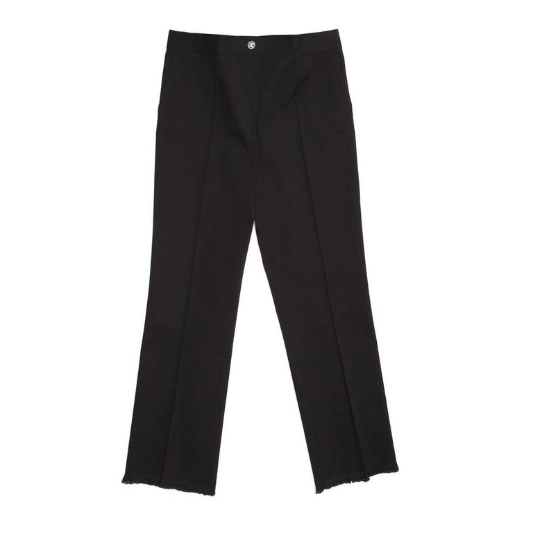 Chanel Black Cotton Cropped Pants with Frayed Hem