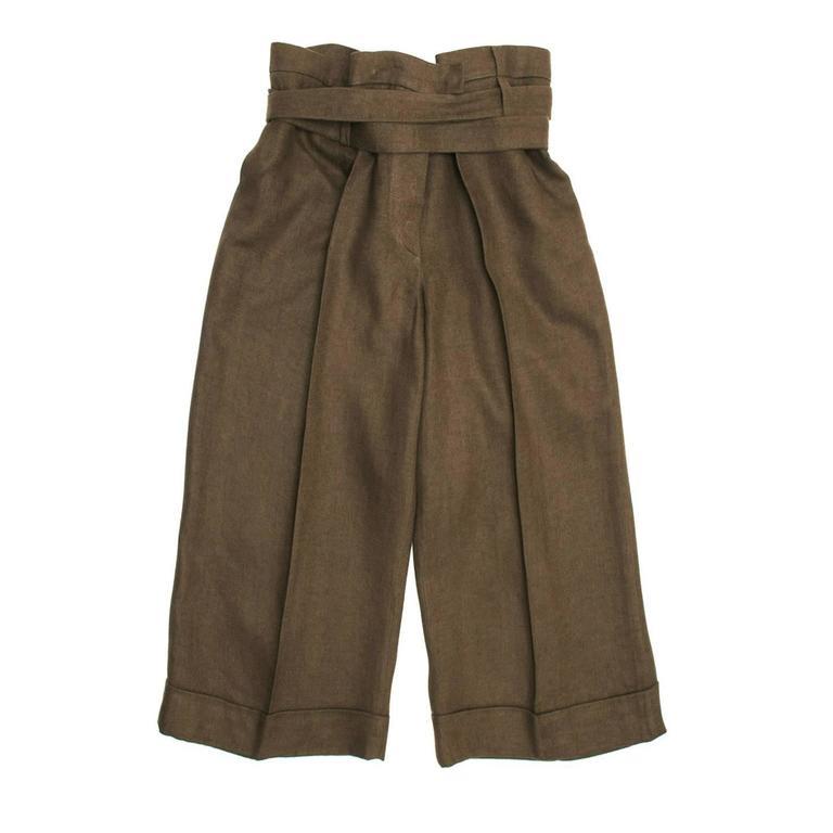 Chloe' Brown Linen Cropped Pants