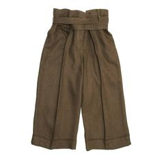 Chloe' Brown Linen Cropped Pants