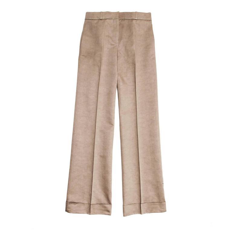 Chloe' Khaki Cotton Boot Legged Pants