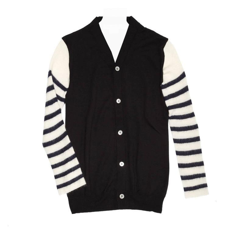 Comme des Garçons Black & Ivory Striped Cardigan