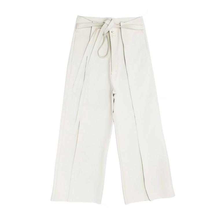 Comme des Garçons Ivory Thick Cotton Gaucho Pants For Sale