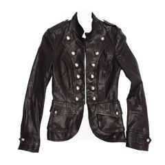 Dolce & Gabbana Black Distressed Leather Military Jacket