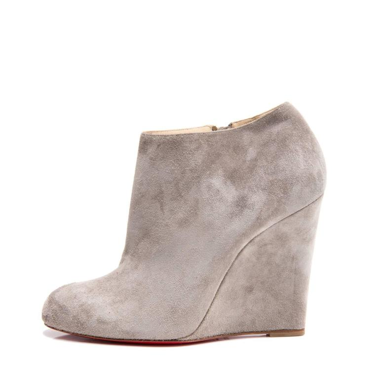 cccb9e32b2c Christian Louboutin Grey Suede Ankle Boot Wedges