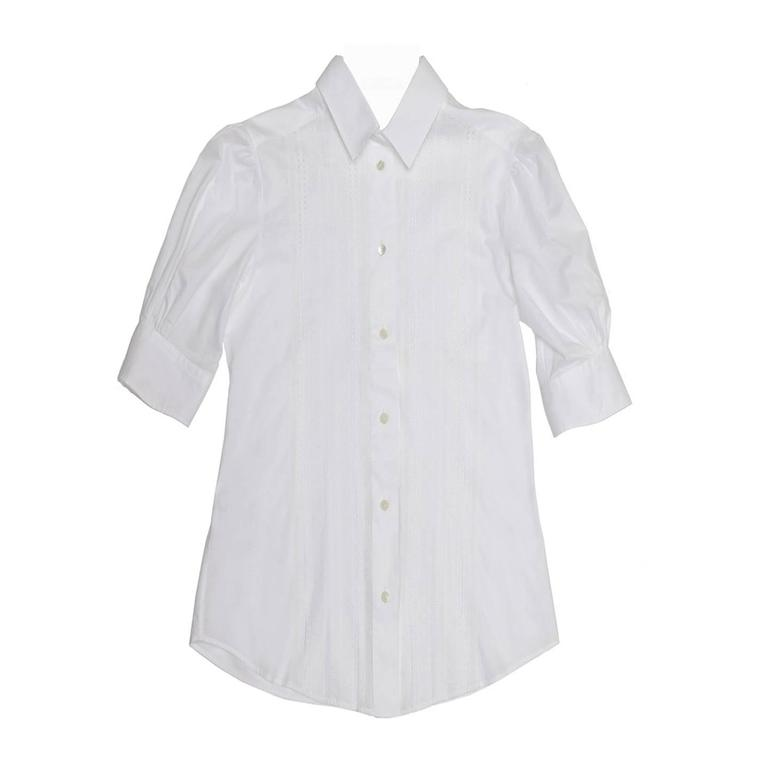 Dolce & Gabbana White Cotton & Lace Shirt