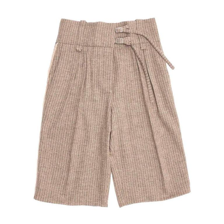 Chloe' Khaki Wool & Sequins Bermuda Pants