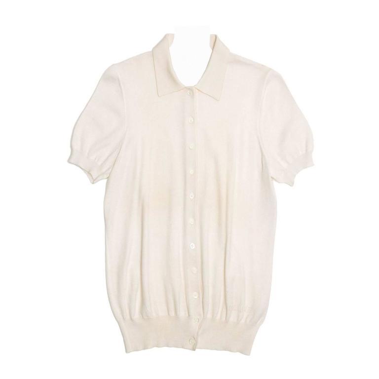 Celine Ivory Cashmere Short Sleeve Cardigan