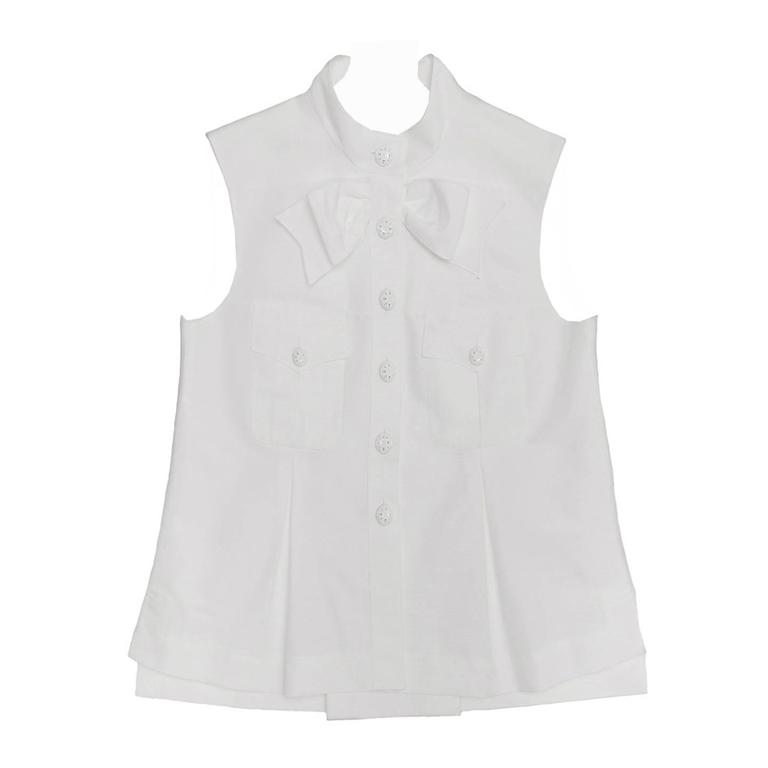 Chanel White Sleeveless Top or Jacket With Bow Detail