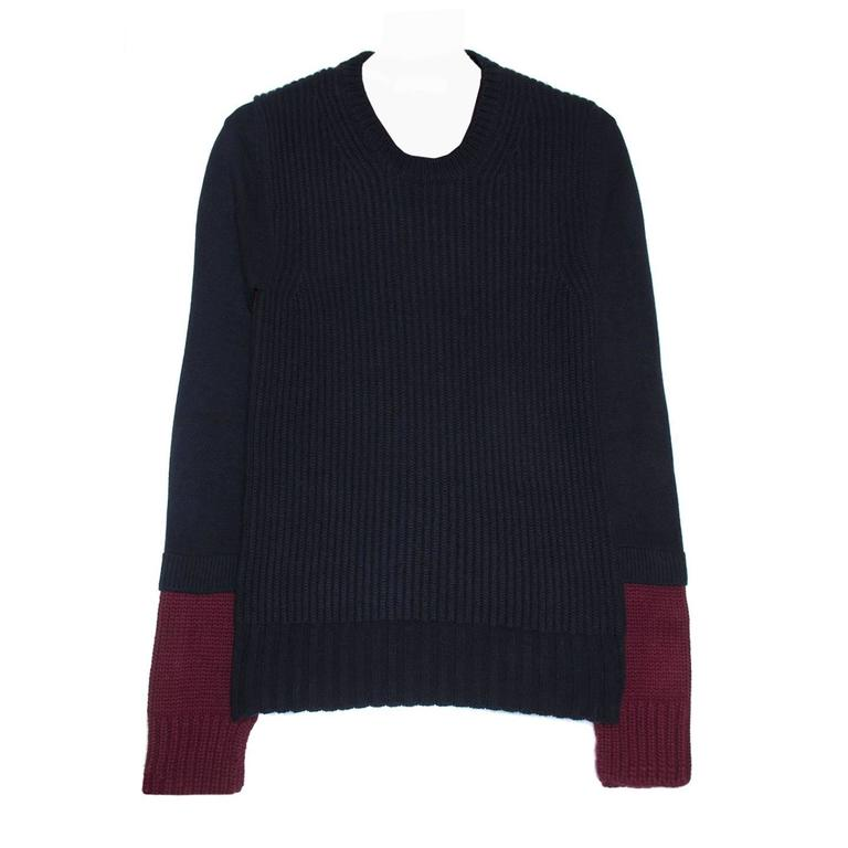 Celine Navy & Burgundy Sweater