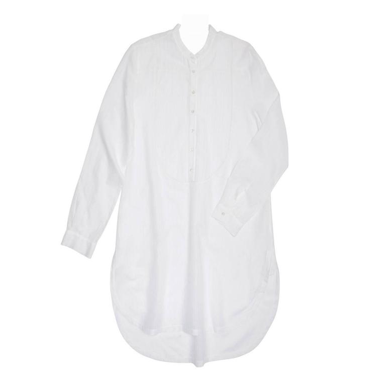 Chloe' White Stiped Jacquard Long Shirt