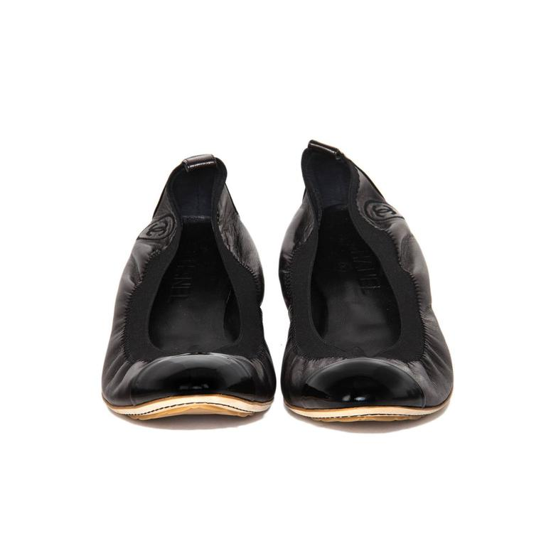 Traditional Chanel Black Leather Ballerina Shoes 2
