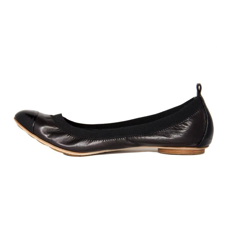 Traditional Chanel Black Leather Ballerina Shoes 3