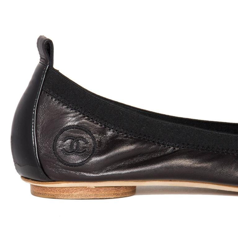Traditional Chanel Black Leather Ballerina Shoes 4