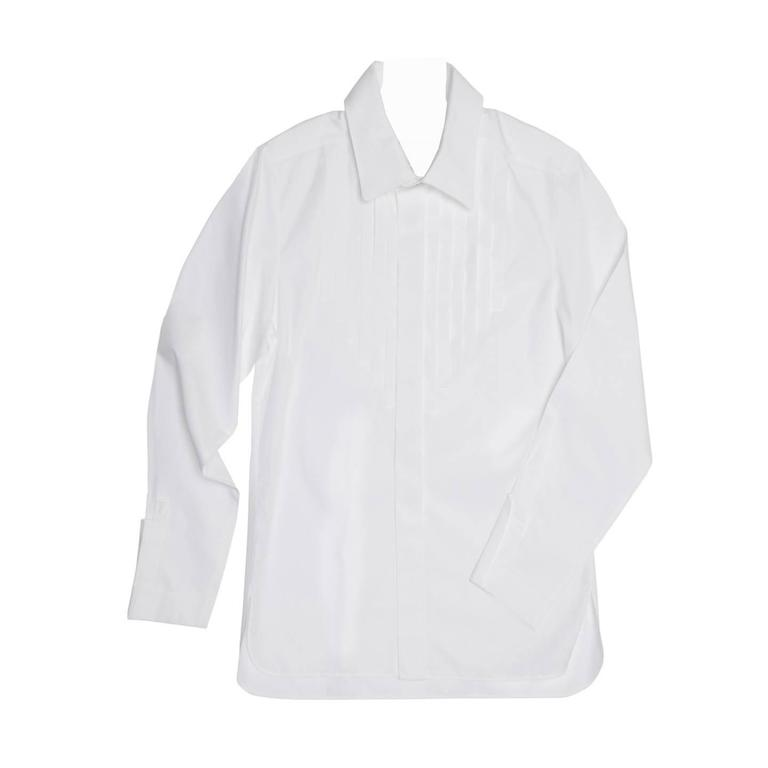 Chanel White Shirt With Bib Made for Men but Worn by Women