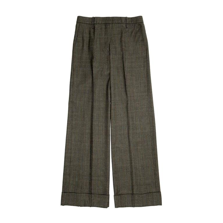 Chloe' Musk Green Wool Plaid Pants