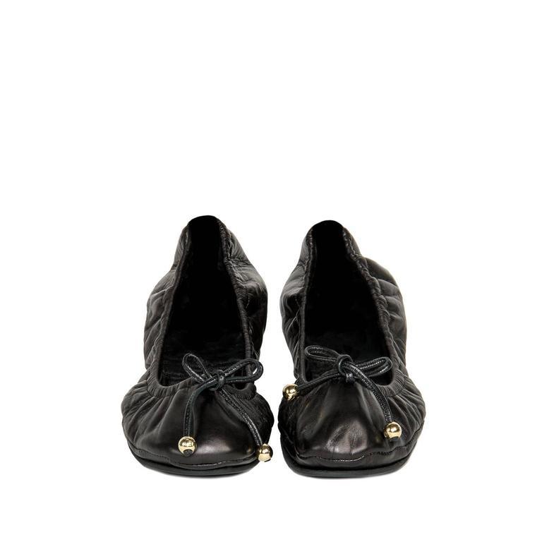fendi black leather scrunch ballerina shoes for sale at